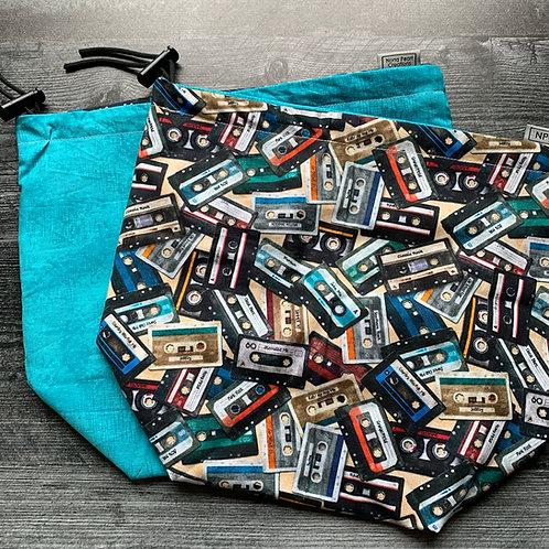 Mix Tape Tan Drawstring Bag