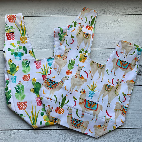 Watercolor Cacti & Llama Knot Bag
