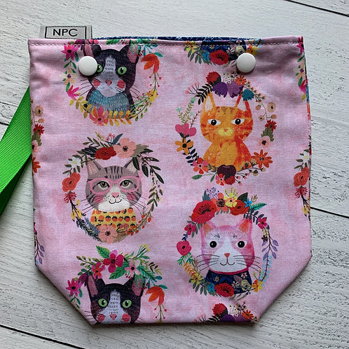 Floral Cats Snap Sack