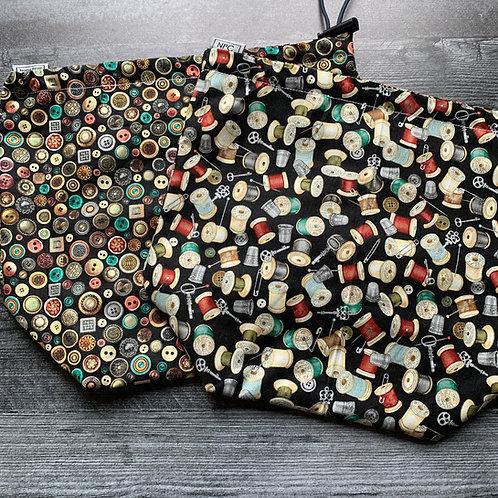 Vintage Sewing Drawstring Bag