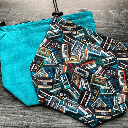 Mix Tape Blue Drawstring Bag