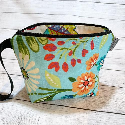 Blue Flower Zipper Bag