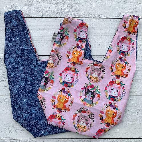 Floral Cats Knot Bag