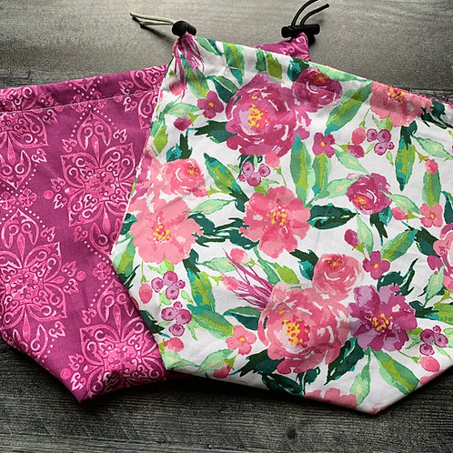 Spring Floral Drawstring Bag