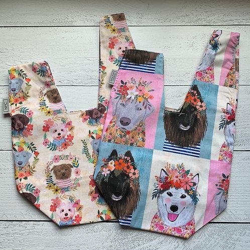 Big Floral Dogs Knot Bag
