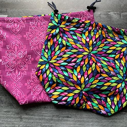 Stained Glass Dahlia Drawstring Bag