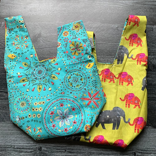 Elephants and Mandalas Knot Bag