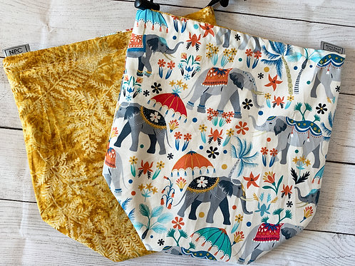 Elephants and Golden Ferns Drawstring Bag