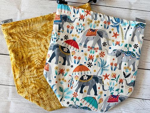 Elephants and Golden Ferns Drawstring Bag