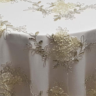 Ivory Ribbon Mesh Lace Overlay