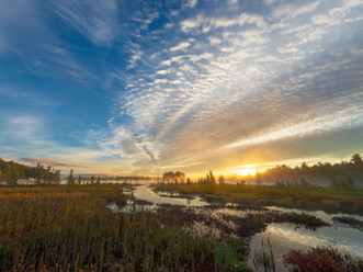 Sunrise Clouds Streaming Over Brown's Tract Inlet & Raquette Lake, Adirondacks, New York