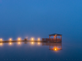 Dock in Twilight Fog, Fourth Lake, Fulton Chain of Lakes, Adirondacks, New York