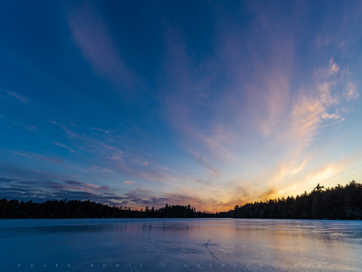 Sunset Ice Reflections, Polliwog Pond, Saranac Lakes Wild Forest, Adirondacks, New York