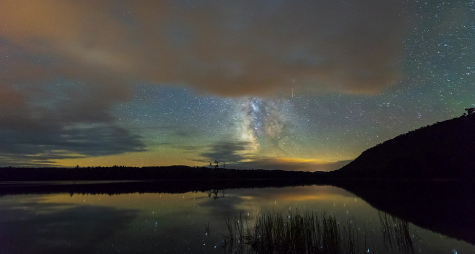 Streaming Clouds and a Celestial Surprise Over Moss Lake, Adirondacks, New York