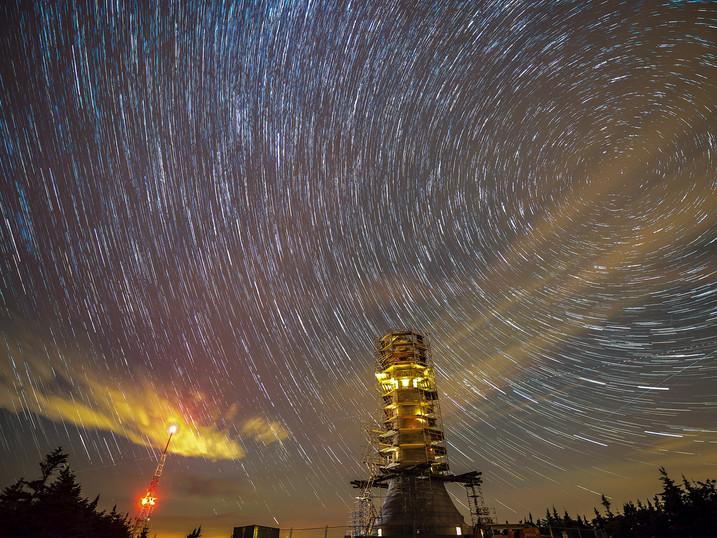 Star Circles Over the Mt Greylock Veterans Memorial, The Berkshires, Massachusetts