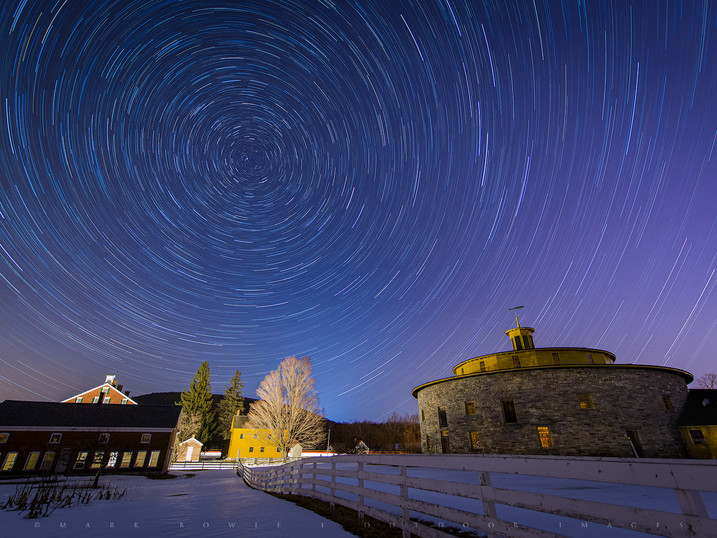 Star Circles Over the 1826 Round Stone Barn, Hancock Shaker Village, The Berkshires, Massachusetts