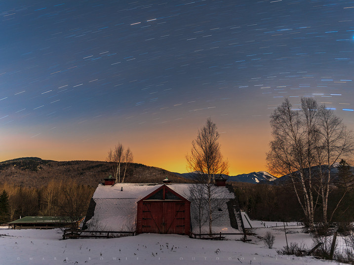 Star Trails Over Moonlit Red Barn & High Peaks, Lake Placid, Adirondacks, New York
