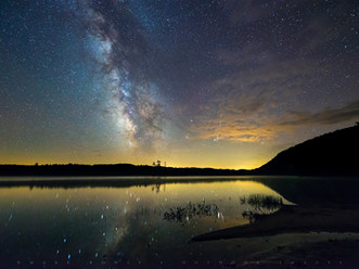Glorious Milky Way and a Perseid Meteor Over Moss Lake, Adirondacks, New York