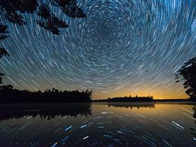 Star Circles Reflected in Follensby Clear Pond, Adirondacks, New York