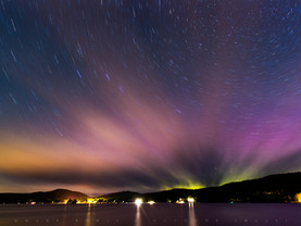 Aurora Borealis & Clouds Fanning Over Fourth Lake, Adirondacks, New York