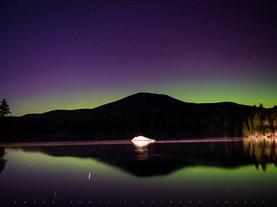 Aurora Borealis Reflected in Lake Durant, Adirondacks, New York