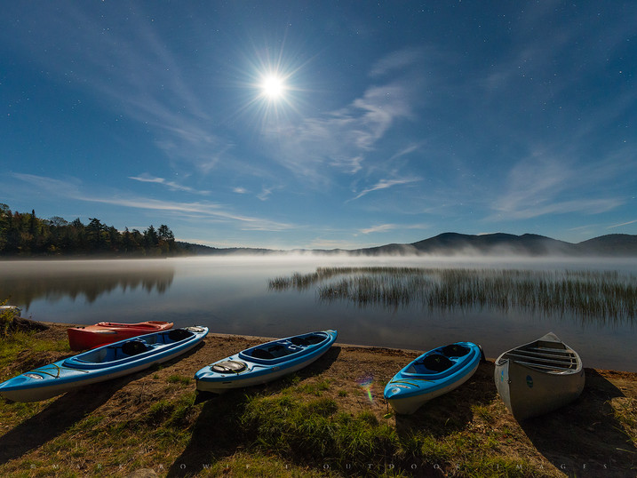 Moonlit Kayaks, Lake Eaton, Adirondacks, New York
