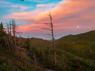 Moon Rising Through Sunset Clouds, Baxter Mountain, Adirondacks, New York