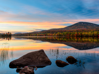Blue Mountain, Fall Foliage, and Sunset Clouds Reflected in Lake Durant, Adirondacks, New York