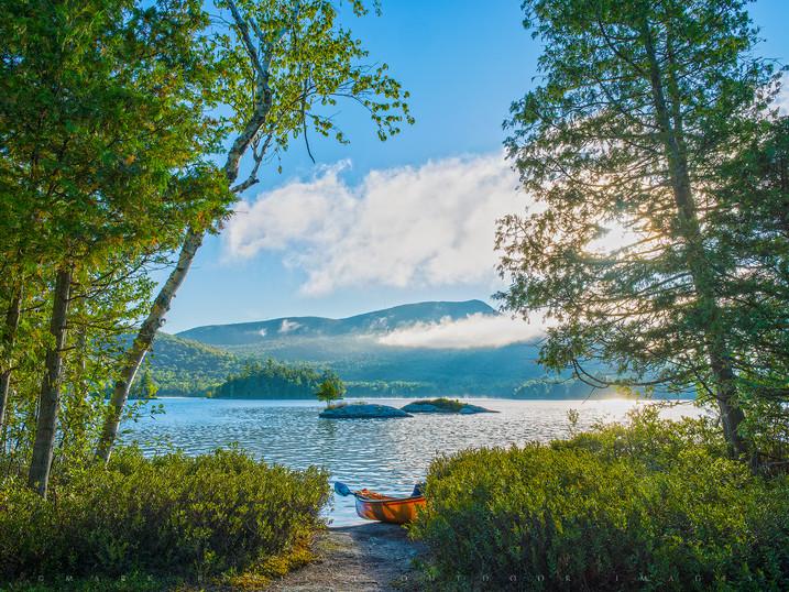 Foggy Morning Canoe, Blue Mt Lake, Adirondacks, New York