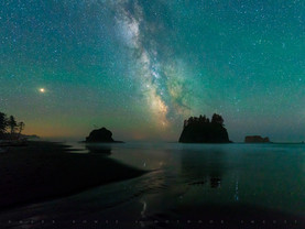 Saturn, Milky Way & Jupiter, Second Beach, Olympic National Park, Washington