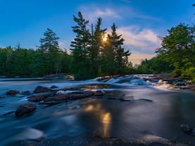 Blue-Gold Moonlight on Bog River Falls, Adirondacks, New York