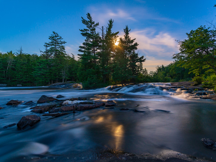 Blue-Gold Moonlight on Bog River Falls, Adirondacks, New York