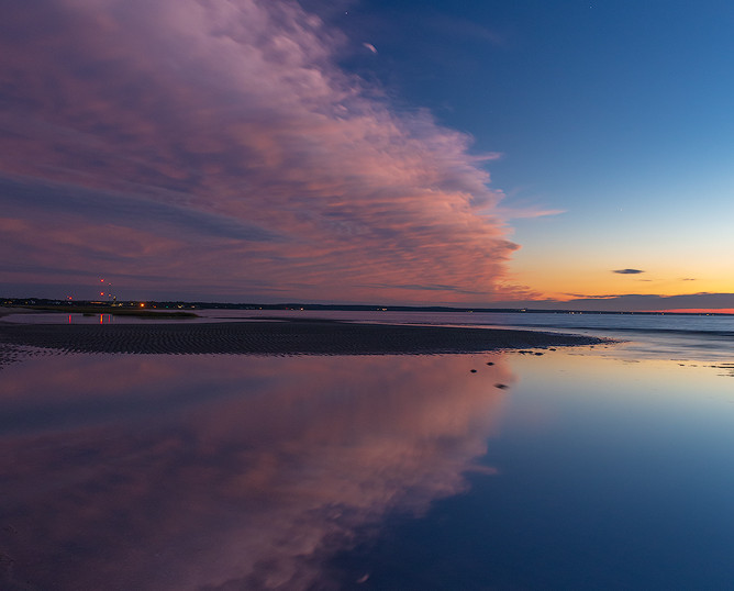 Horseshoe Crab Under Twilight Reflections, First Encounter Beach, Cape Cod, Massachusetts