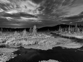 Crescent Moon Over Brown's Tract Inlet in Black & White, Adirondacks, New York