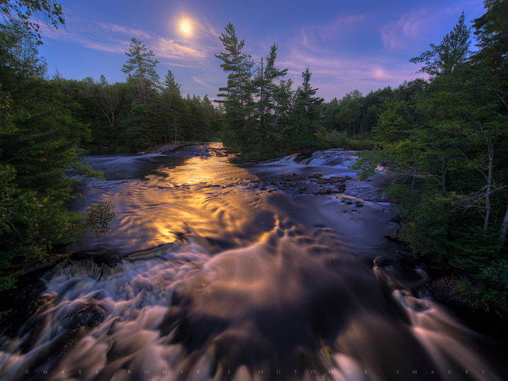 Moonlight on Bog River Falls, Adirondacks, New York