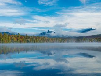 Nippletop in the Fog, Reflected in Clear Pond, Elk Lake-Clear Pond Preserve, Adirondacks, New York