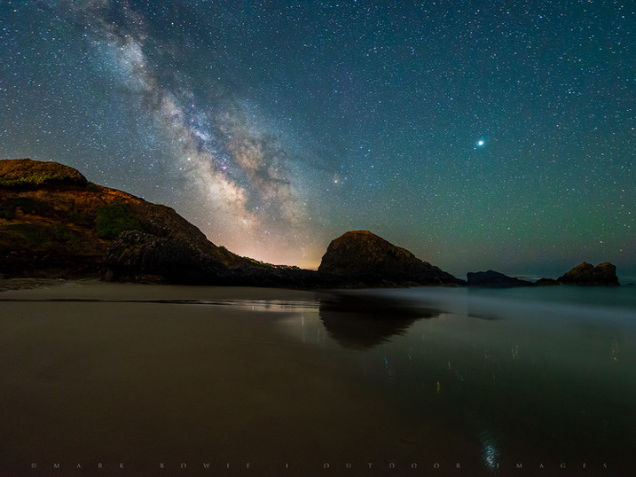 Milky Way & Jupiter Over Seal Rock State Park Beach, Oregon