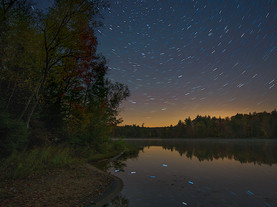 Star Circles Reflected in Seventh Lake, Fulton Chain of Lakes, Adirondacks, New York