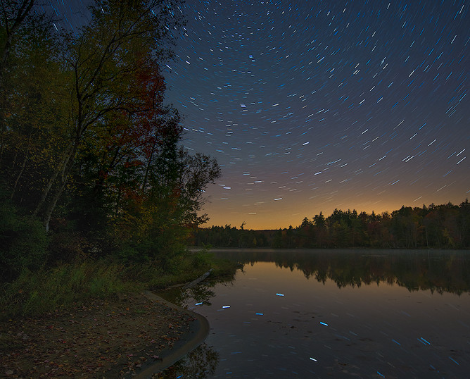 Star Circles Reflected in Seventh Lake, Fulton Chain of Lakes, Adirondacks, New York