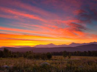 Blazing Pre-Dawn Colors Over Whiteface Mt & the McKenzie Range, from Harrietstown, Adirondacks, New York