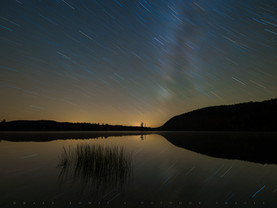 Star Trails & Milky Way Reflected in Moss Lake, Adirondacks, New York