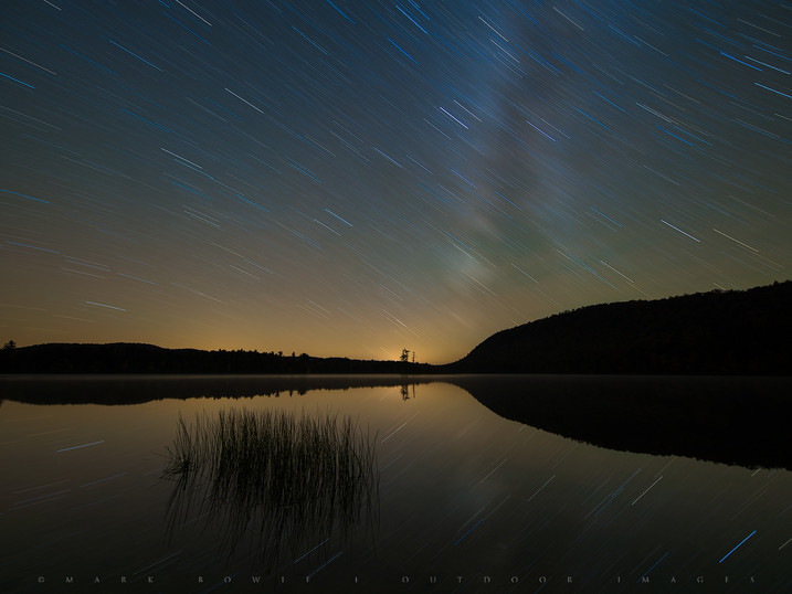 Star Trails & Milky Way Reflected in Moss Lake, Adirondacks, New York
