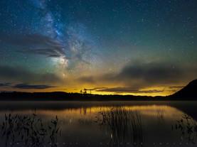 Milky Way, Stars and Clouds over Moss Lake, Adirondacks, New York