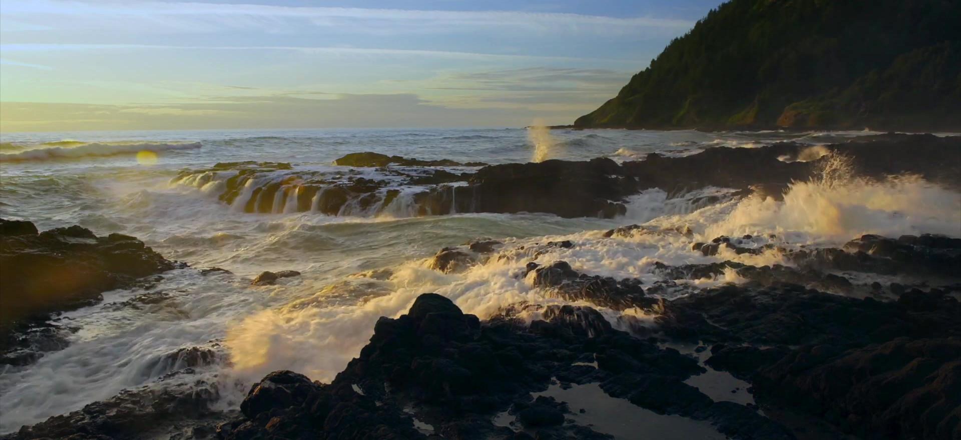 Perpetual Waves Backlit, Cape Perpetua, Oregon