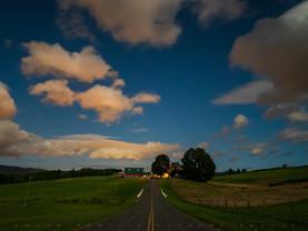 Moonlit Clouds & Farm Road, Adams, The Berkshires, Massachusetts