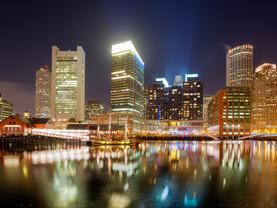 Boston Skyline in Reflection, Massachusetts