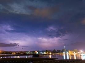 Night Lightning Over Silver Lake, Pittsfield, The Berkshires, Massachusetts