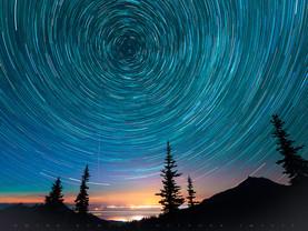 Star Circles Over Hurricane Ridge, Olympic National Park, Washington