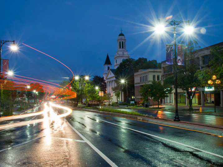 Night Traffic, Pittsfield, The Berkshires, Massachusetts