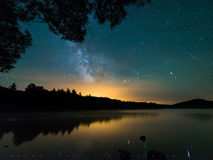 Milky Way & Meteor Over Putnam Pond, Adirondacks, New York